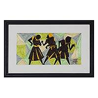 Silk wall art, 'Geometric Dance' - Handmade Dance-Themed Silk Wall Art from Ghana