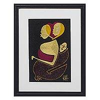 Silk wall art, 'African Identity' - Handmade Mother and Child Silk Wall Art from Ghana