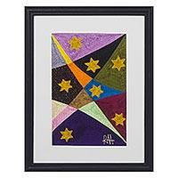 Silk wall art, 'Stars of Life' - Star-Themed Handmade Silk Wall Art from Ghana