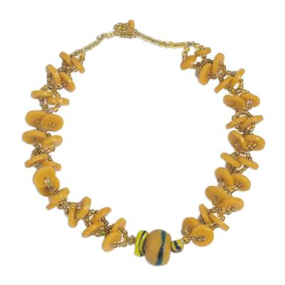 Handmade Recycled Glass and Plastic Beaded Necklace in Amber