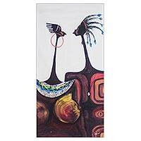 'Lovers' - Signed Expressionist Painting of Two Lovers from Ghana