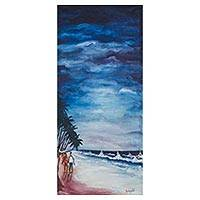 'Lovers at the Beach' - Signed Impressionist Seascape Painting from Ghana