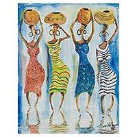 'Potters' - Expressionist Painting of African Women Holding Pots