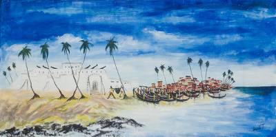'Elmina Beach' - Signed Expressionist Seascape Painting from Ghana