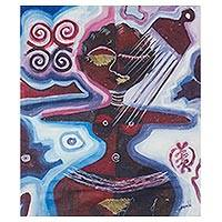 'Akwaaba Doll' - Signed Expressionist Fertility Doll Painting from Ghana