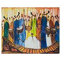 'Damba Music Makers' - Signed Cultural Musical Expressionist Painting from Ghana
