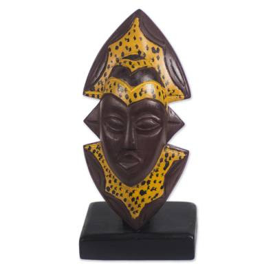African Wood Mask in Brown and Yellow from Ghana