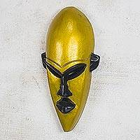 African wood mask, 'Ahoofe Gold' - Gold-Tone African Wood Mask from Ghana