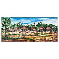 'Village Scene' - Signed Village Scene Impressionist Painting from Ghana