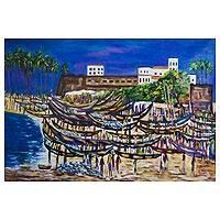 'Local Castle Beach Scene' (2018) - Signed Impressionist Beach Scene Painting from Ghana