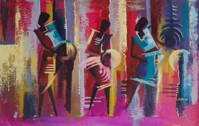 'Music Makers' - Signed Expressionist Painting of a Band from Ghana