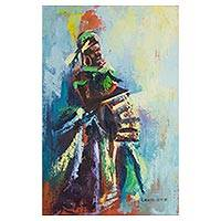 'Market Day' - Signed Expressionist Painting of a Market Woman from Ghana