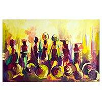 'Hawkers On The Move' - Signed Expressionist Market Scene Painting from Ghana