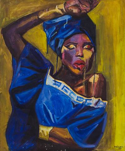 'Cry Of A Virgin' (2015) - Signed Expressionist Painting of a Woman in Blue (2015)