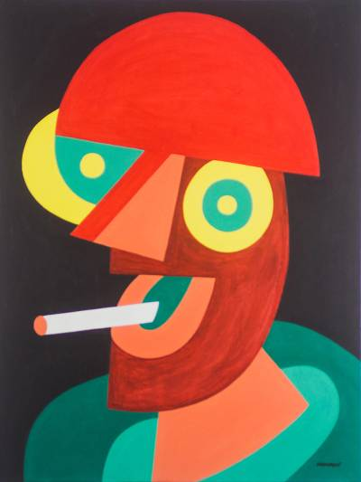 'Smoking is Harmful' - Signed Cubist Painting of a Man Smoking from Ghana