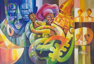 'Precious Mother' - Cultural Expressionist Painting in Multicolor from Ghana