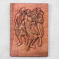 Wood relief panel, 'Dancers from the North' - Wood Relief Panel of Dancers from Ghana