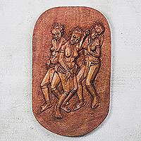 Wood relief panel, 'Puberty Dance' - Dance-Themed Wood Relief Panel from Ghana