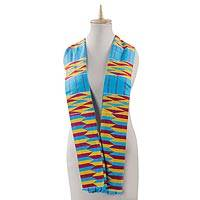 Cotton blend kente scarf, 'Artisan Hands' (3 strips) - Ghanaian 3-Strip Kente Cloth Scarf  in Turquoise and Yellow