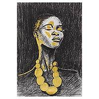 'Beauty' - Signed Expressionist Painting of a Woman from Nigeria