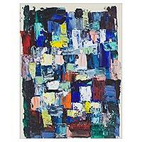 'Congregation' - Rectangle Motif Signed Abstract Painting from Nigeria