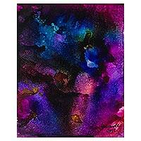 'Cosmos' - Blue and Purple Signed Abstract Painting from Nigeria