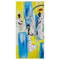'Angels in Worship' - Signed Surrealist Angel Painting from Ghana