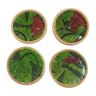 Wood and Cotton Coasters in Green from Ghana (Set of 4)