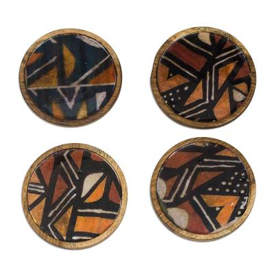 Earth-Tone Wood and Cotton Coasters from Ghana (Set of 4)