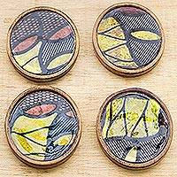 Wood coasters, 'Vibrant Ntoma' (set of 4) - Vibrant Wood and Cotton Coasters from Ghana (Set of 4)