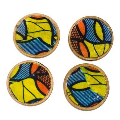 Vibrant Wood and Cotton Coasters from Ghana (Set of 4)