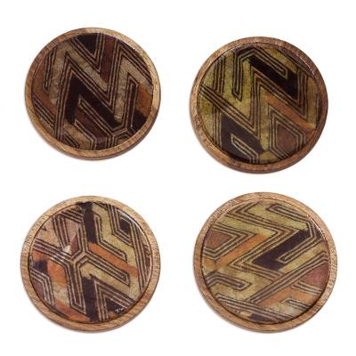 Line Motif Wood and Cotton Coasters from Ghana (Set of 4)