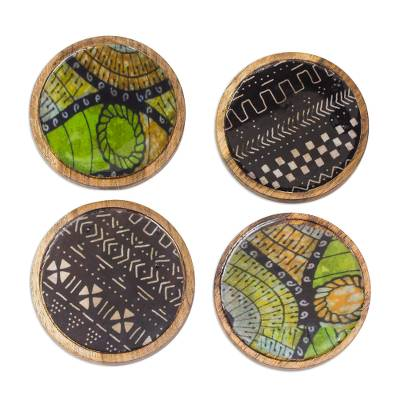 Black and Green Wood and Cotton Coasters (Set of 4)