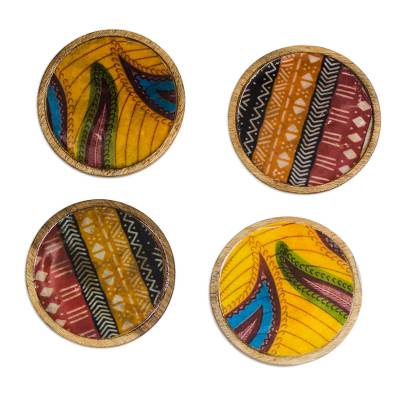 Multicolored Wood and Cotton Coasters from Ghana (Set of 4)