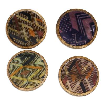 Handmade Wood and Cotton Coasters from Ghana (Set of 4)