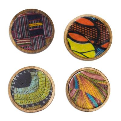 Assorted Wood and Cotton Coasters from Ghana (Set of 4)