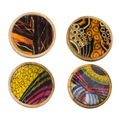 Colorful Wood and Cotton Coasters from Ghana (Set of 4)