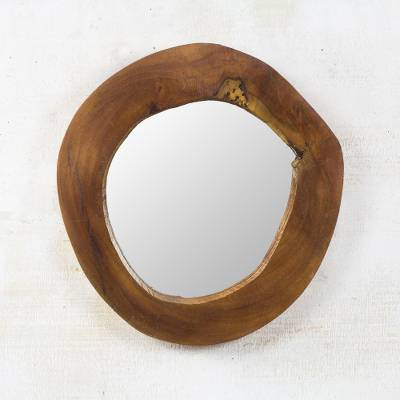 Mahogany wood wall mirror, 'Natural Window' - Handmade Natural Mahogany Wood Wall Mirror from Ghana
