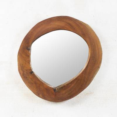Mahogany wood wall mirror, 'A Look Through Nature' - Circular Natural Mahogany Wood Wall Mirror from Ghana