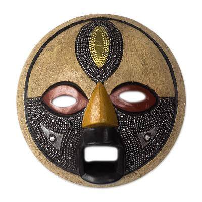 African wood mask, 'Third Eye' - Round African Wood Mask with Brass and Aluminum Accents
