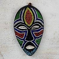 Recycled glass beaded African wood mask, 'Face of Colors' - Recycled Glass Beaded African Wood Mask from Ghana