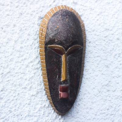 African wood mask, 'Unique Odo' - Unique Rustic African Wood Mask from Ghana