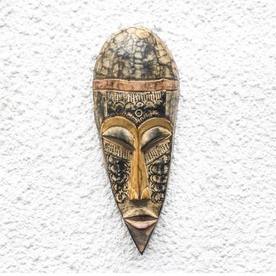 African wood mask, 'Rustic Charm' - Unique African Sese Wood and Aluminum Mask from Ghana