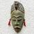 African wood mask, 'Green Hunter' - Unique African Wood Mask in Green from Ghana thumbail