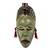 African wood mask, 'Green Hunter' - Unique African Wood Mask in Green from Ghana (image 2a) thumbail