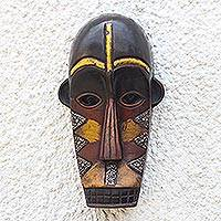 African wood mask, 'Fakye Face' - Triangle Pattern African Wood and Aluminum Mask from Ghana