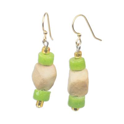 Green Recycled Glass and Ceramic Dangle Earrings from Ghana