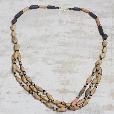 Ceramic and recycled plastic beaded necklace, 'Beautiful Lorlor Sakor' - Ceramic and Recycled Plastic Beaded Necklace