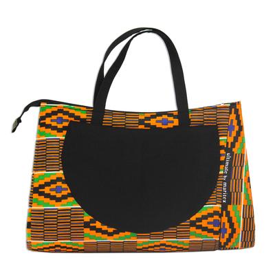 Kente Print Cotton Handle Handbag from Ghana