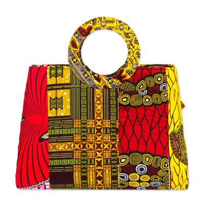 Printed Cotton Handbag with Round Handles from Ghana